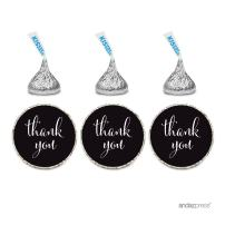 Andaz Press Chocolate Drop Labels Stickers, Thank You, Black, 216-Pack, for Wedding Birthday Party Baby Bridal Shower Hershey's Kisses Party Favors Decor Envelope Seals