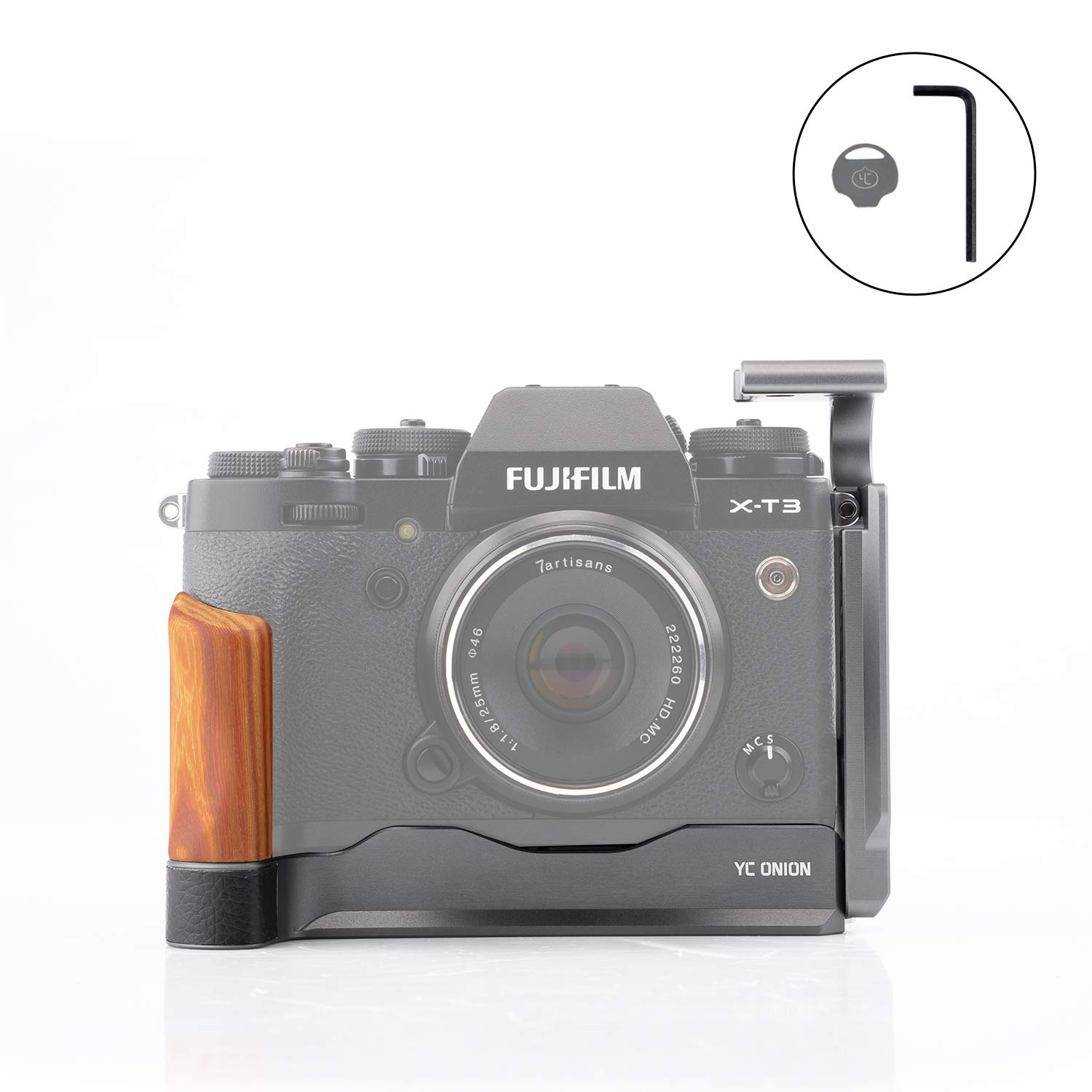 YC Onion Camera L Bracket L-Shape Plate L Half Cage for Fujifilm X-T3 with Arca Swiss Plate Quick Release Pearwood Grip Cold Shoe Hex Wrench Y-Coin Matte Silver