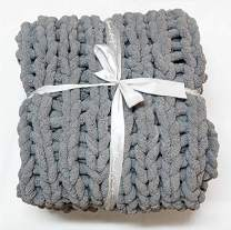 """Abound Kingsize Chunky Knit Blanket - Home Decor Throw - Soft Chenille Yarn - Couch, Bed, Chair, Pet Mat, Baby Blanket, Gift - Machine Washable [50""""x60"""", Navy, Grey Blue, Beige, Yellow, Slate Grey]"""