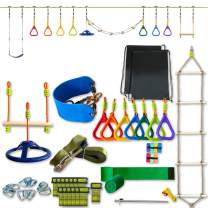 JumpTastic Ninja Obstacle Course, 50ft Ninja Slackline with 11 Pcs Accessories Include Swing, Ladder, Climbing Rope, Gym Ring, Ninja Wheel, Monkey Bar (50ft Ninja Slackline-11 Pcs Accessories)