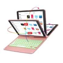 10.2/10.5 inchs iPad Keyboard Case/ 2019(7th Gen)/ 2020(8th Gen)/ iPad Air3/ iPad Pro/Bluetooth Keyboard -Wireless Keyboard-LED Backlit-Tablet Keyboard-360 Rotatable- Smart Sleep Wake Up (Rose Gold)