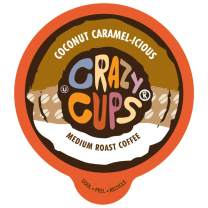 Crazy Cups Flavored Coffee for Keurig K-Cup Machines, Coconut Caramel Hot or Iced Coffee, 80 Single Serve, Recyclable Pods