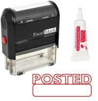 ExcelMark Posted Self Inking Rubber Stamp - Red Ink with 5cc Refill Ink