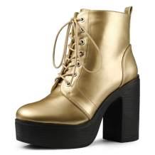 Allegra K Women's Platform Chunky High Heel Lace Up Combat Boots