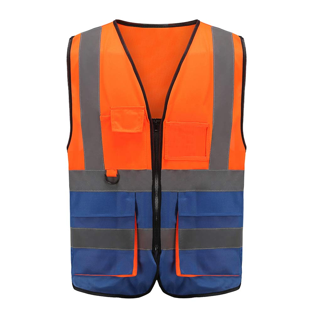 High Visibility Safety Vest Reflective, A-SAFETY, 3M Multi Pockets Working Vest, Working Uniform, Zipper Front,ANSI/ISEA Standards 7 Pockets Class 2, Orange&Blue Color Mixed, M