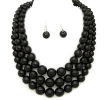 Women's Simulated Faux Three Multi-Strand Pearl Statement Necklace and Earrings Set