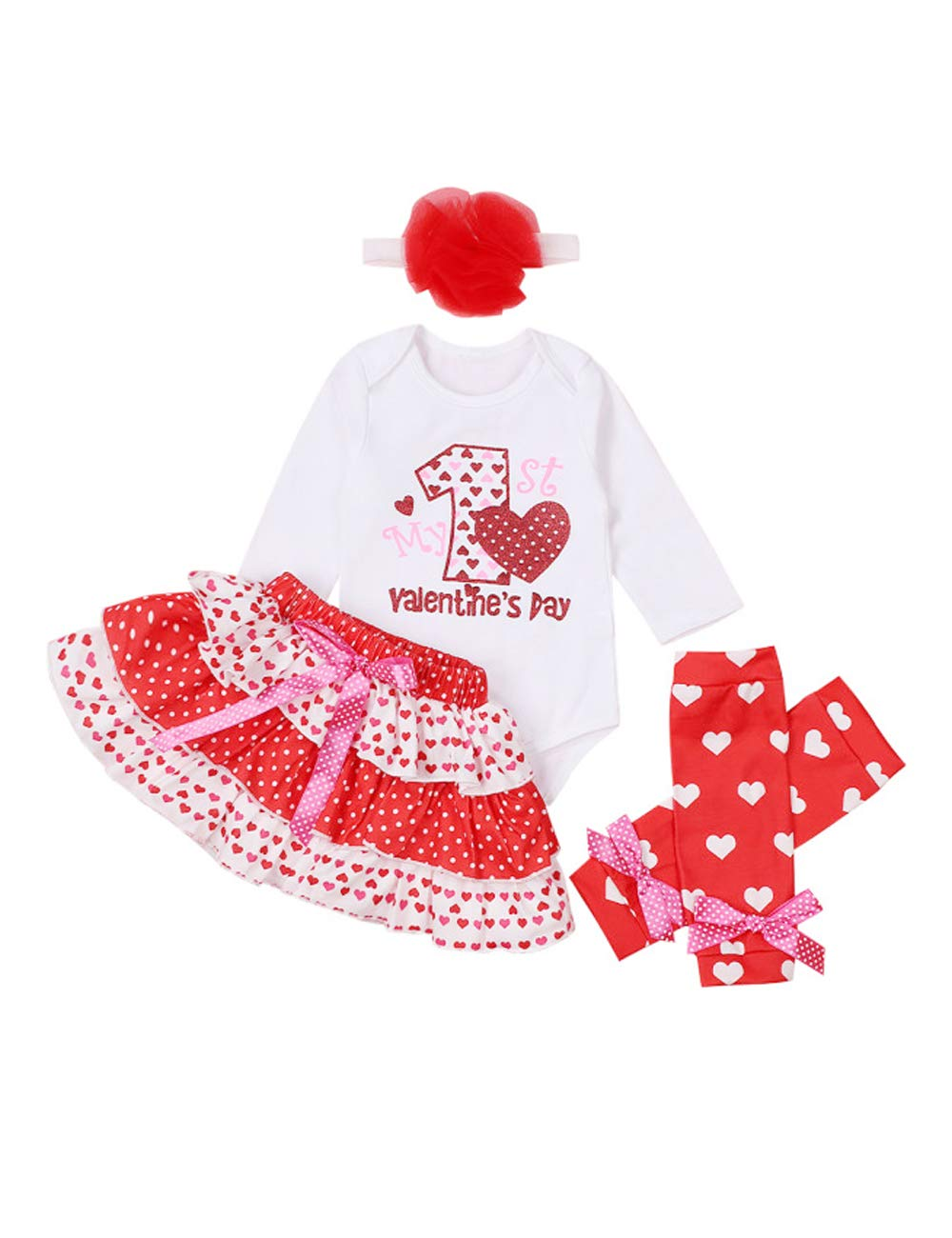 My 1'st Valentine's Day Newborn Infant Baby Outfit Girl Romper Tutu Skirt Headband Leg Warmers Outfits Set