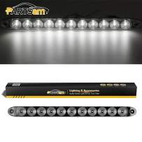 """Partsam White 11 LED 15"""" Light Bar Stop Turn Tail Reverse Backup Car Trailer Waterproof, Sealed Thin 15 Inch White Led ID Strip Bar Turn signal and marker/clearance lights Identification light"""