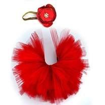 UOMNY Photography Prop Newborn Baby Infant Lovely Costume TuTu Dress Flower Headband 0-3 Month (Red)