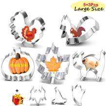 8Pcs Large Fall Thanksgiving Stainless Steel Cookie Cutters Set -PumpkinTurkey Maple Leaf Squirrel Cat Bat Ghost Witch Hat
