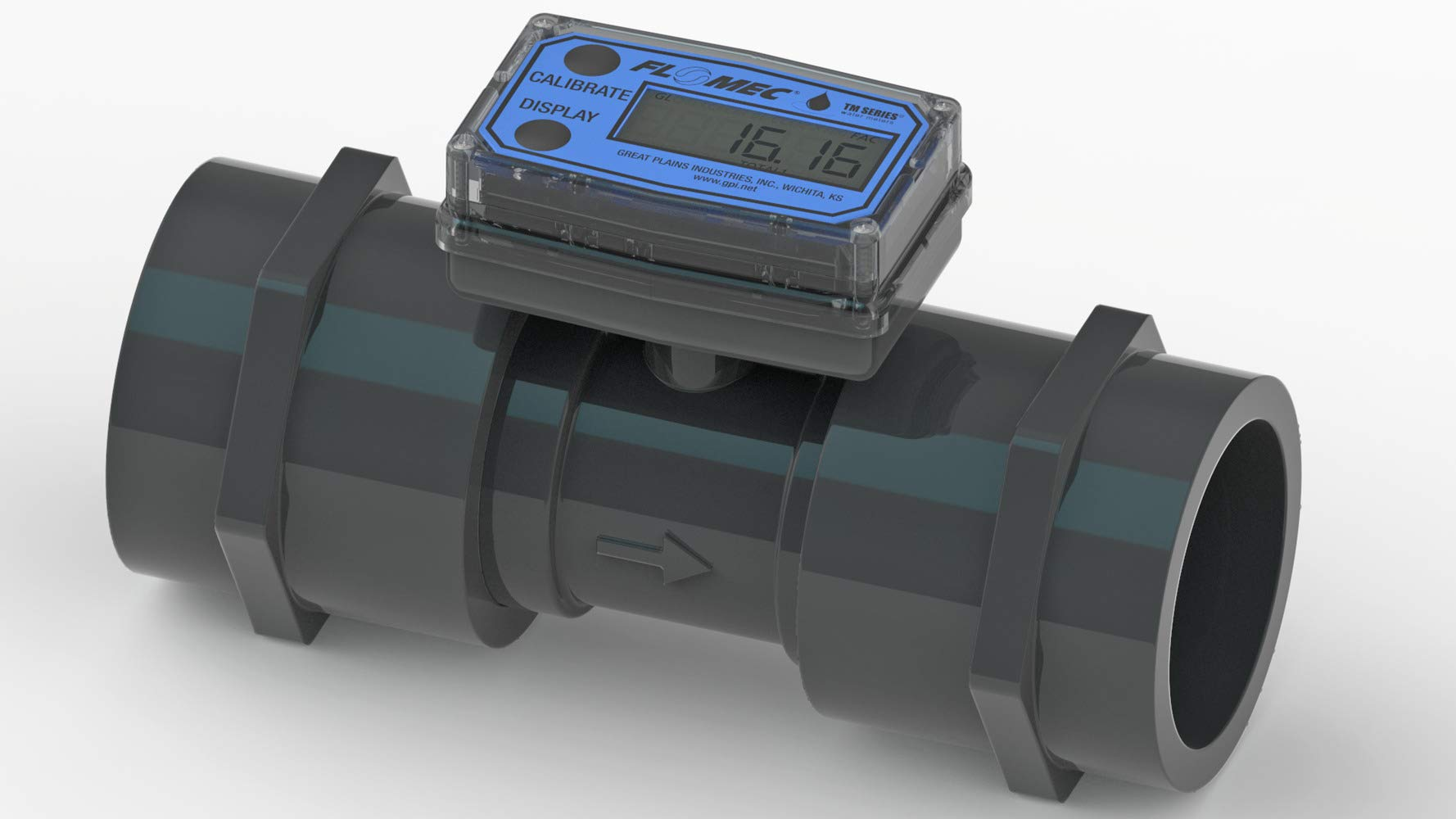 FLOMEC TM200-N, 2 inch Turbine Meter, PVC, Battery Operated Display with Rate and 2 Total registers, 3% Accuracy, 20 to 200 GPM Flow Range