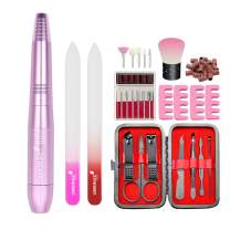 UMEINAC TECH Portable Electric Nail Drill Kit E files for Acrylic Nails Polygel Nail Kit, Professional Acrylic Bits Machine Set with Sanding Bands Glass Files(Pink)