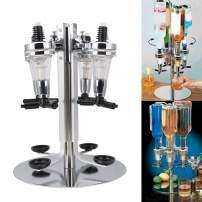 Liquor Dispenser, Revolving Alcohol Rotating Drinks Dispenser for Wine Racks Cocktail Dispenser Wine Holder Bar Party Drinking (4 Bottle)