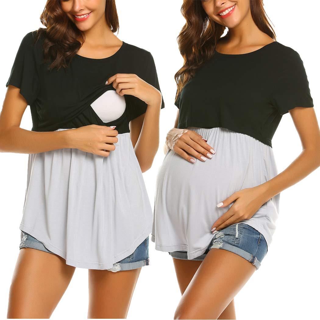 Ekouaer Women's Maternity Nursing Top Breastfeeding Tee Double Layer Short Sleeve Pregnancy Shirt