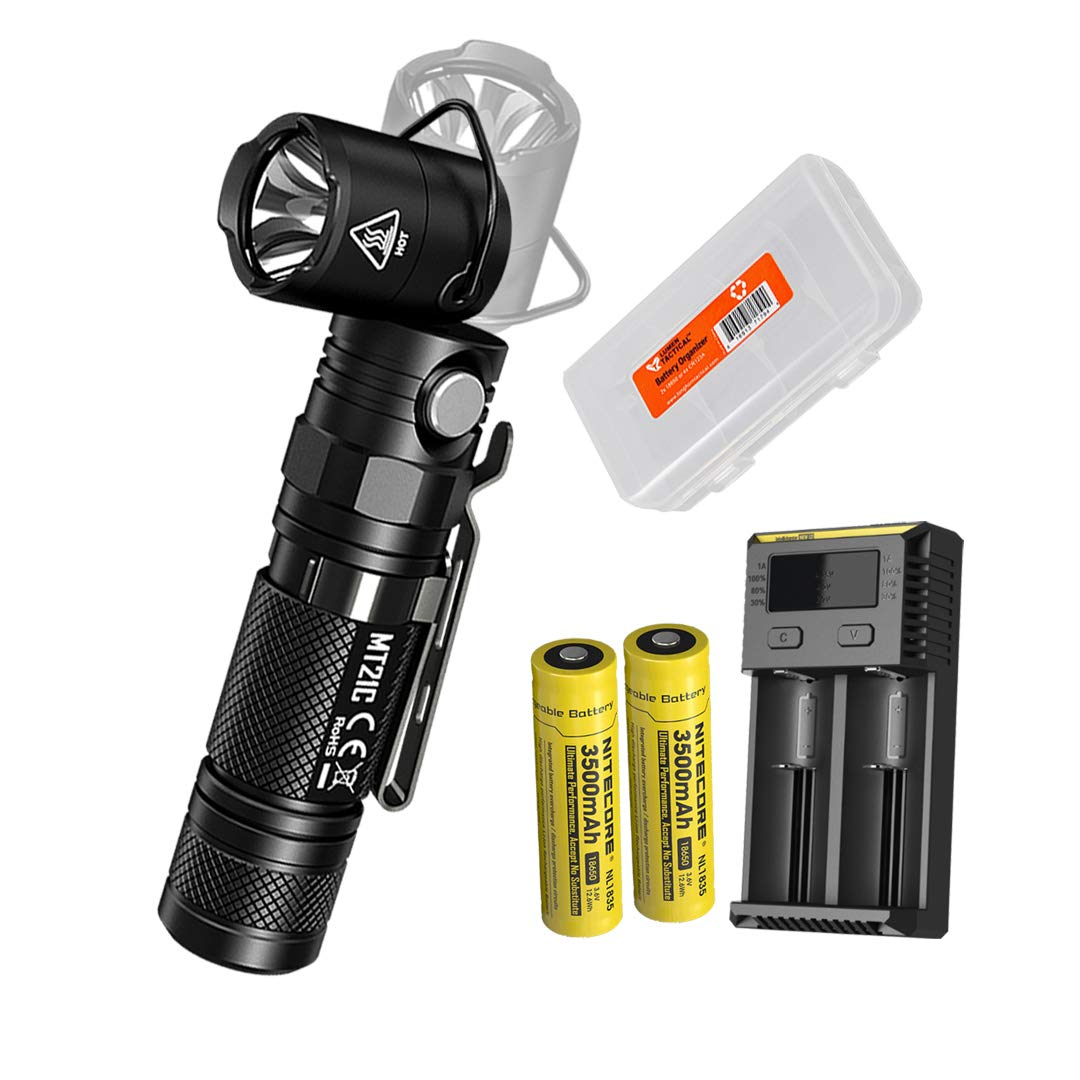 NITECORE MT21C 1000 Lumen 90 Degree Tiltable Head Multifunction LED Flashlight with 2x 3500mAh High Capacity Rechargeable Batteries, i2 Battery Charger and Lumen Tactical Battery Organizer