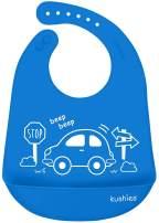 Kushies Silicatch Bib, Blue Car Design - Soft Silicone Bib w/ Baby Food Crumb Catcher Pocket - Baby Feeding Waterproof Bibs for Baby Boy - Baby Bib w/ Snack Catcher - Silicone Bibs for Babies 6mos+