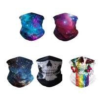 Rainlin 5 Pack Fashion Bandanas Casual Neck Gaiter Wind Proof for Outdoor Camping