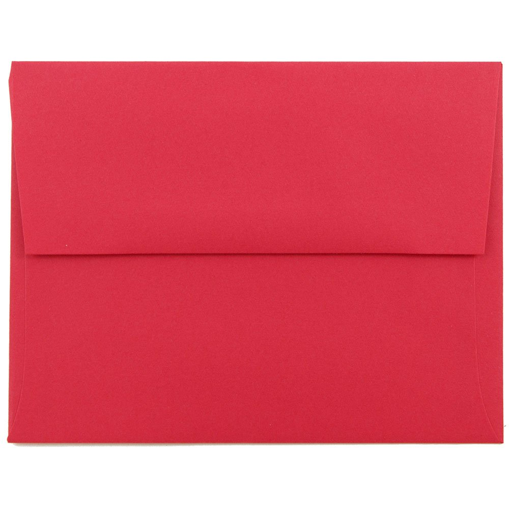 JAM PAPER A2 Colored Recycled Invitation Envelopes - 4 3/8 x 5 3/4 - Red Recycled - 25/Pack