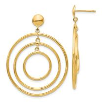 14k Yellow Gold Circle Drop Dangle Chandelier Post Stud Earrings Fine Mothers Day Jewelry For Women Gifts For Her