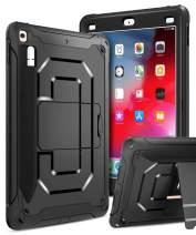 Innens Compatible iPad 9.7 inch 2018/2017 Case, Heavy Duty Armor Defender Anti-Scratch Shockproof Rugged Case with Kickstand and Pencil Holder for iPad 9.7 inch 6th/5th Generation (A-Black)