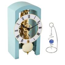 QWIRLY 2-Item Bundle: Patterson Skeleton Mechanical Wooden Table Clock by Hermle 23015S40721 and Desktop Glass Ball Spinner - Room Accessories Set for Boss, Partner or Friend - Light Blue