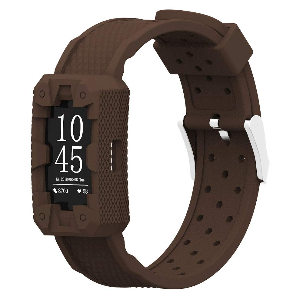 IMPAWFAN Silicone Watch Bands for Fitbit Charge 2, Adjustable Sport Replacement Wristbands with Air Holes, Waterproof Protective Case with Strap, Bracelet Band for Charge 2, Men and Women-Chocolate