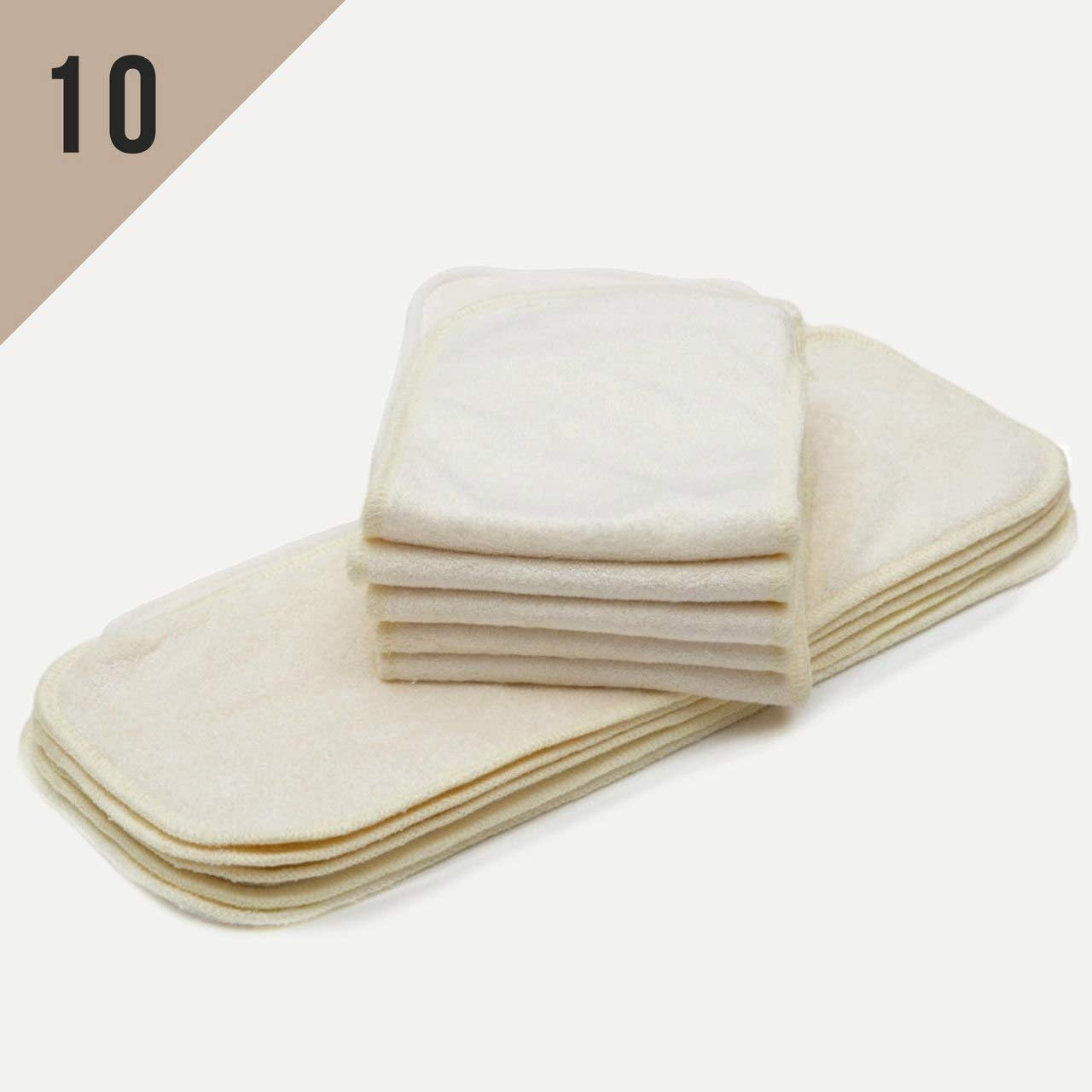 KaWaii Baby Mom Label Bamboo Inserts for Cloth Diapers, 3 Layered Bamboo Inserts, Cloth Diaper Inserts (NO Microfiber OR Fleece), Diaper Inserts for 6–22 lbs Newborn to Toddler - Pack of 10.