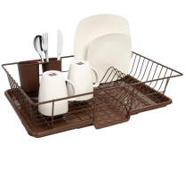 """Sweet Home Collection Dish Rack Drainer 3 Piece Set with Drying Board and Utensil Holder, 12"""" x 19"""" x 5"""", Bronze"""