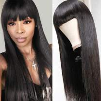 DACHIC Human Hair Wigs with Bangs Brazilian None Lace Front Wig for Women Glueless Full Machine Made Straight Wigs Natural Color 150% Density (20 Inch)