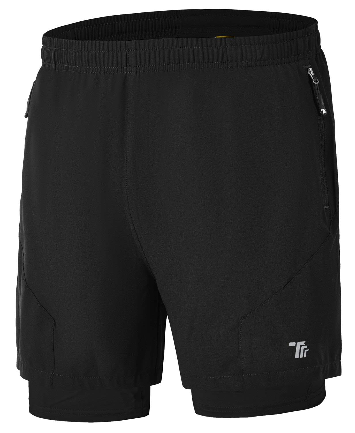 Rdruko Men's 2 in 1 Workout Running Shorts Quick Dry Lightweight Gym Shorts with Mesh Liner