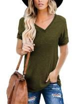 ZIWOCH Womens Short Sleeve V Neck Tops Loose Casual Summer Blouse T Shirts