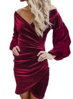 Actloe Women V Neck Cross Sleeve Wrap Bodycon Velvet Dress