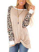 ADREAMLY Women's Casual Long Sleeve Twist Knot Shirts Leopard Print Pullover Tops