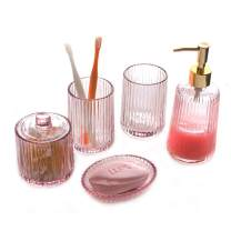 Longjet Bathroom Decor Glass Bathroom Accessories Set 5 Piece Includes Soap Dispenser with Pump Soap Bar Dish Mason Jar Cotton Ball and Swab Qtip Holder Bathroom Tumbler Cup (Glass, 5 Piece Set)