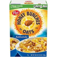 Post Honey Bunches of Oats With Almond Breakfast Cereal, 4 Count