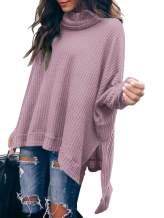 ANRABESS Women Turtleneck Batwing Sleeve High Low Hem Side Slit Waffle Knit Casual Loose Oversized Sweater Tunic
