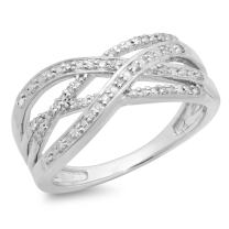 Dazzlingrock Collection 0.25 Carat (ctw) Round White Diamond Ladies Bridal Swirl Fashion Right Hand Band 1/4 CT, Sterling Silver