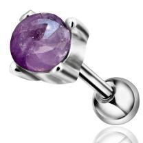 COCHARM 16G Stainless Steel Amethyst Cartilage Earrings Piercing Jewelry Stud Tragus Helix Earrings