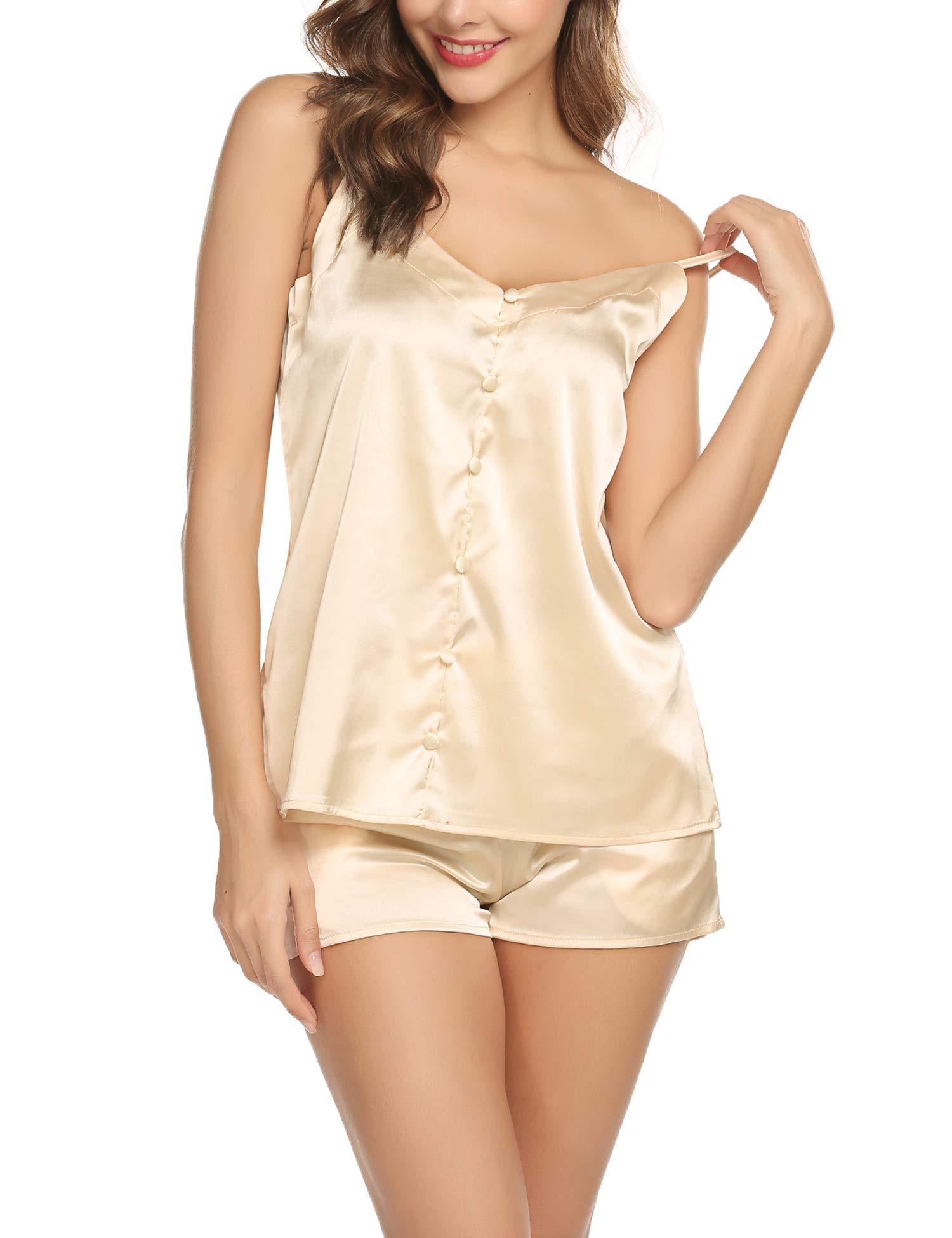 Womens Short Satin Pajamas Set Sexy Camisole Sets Silk Lingerie Sleepwear