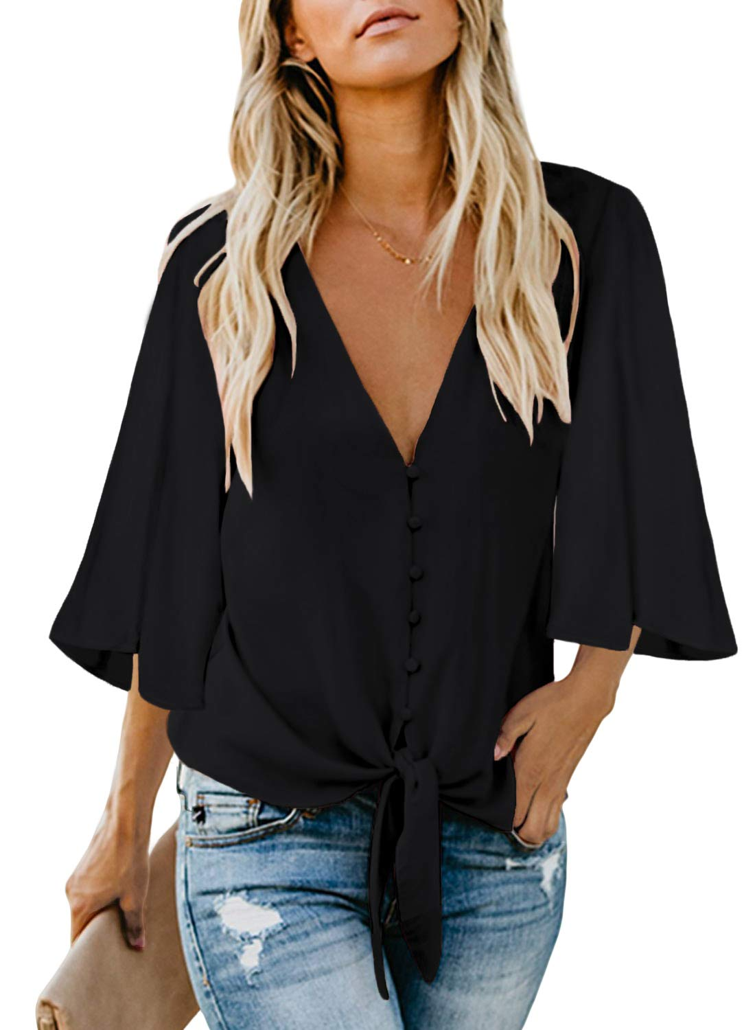 Biucly Women's Casual Stylish V Neck Button Down Floral Print Cuffed Sleeve Blouses Shirts Tops Pullover S-2XL