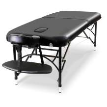 CLORIS Massage Table Portable Folding Lash Table for Eyelash Extensions Hight Adjustable 23-33Inch 2 Folding Massage Bed 7cm Thicker Foam Spa Bed with Aluminum Legs Black