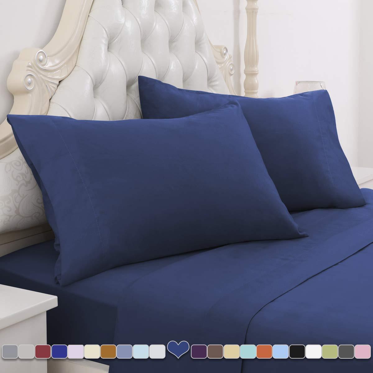 HOMEIDEAS 4 Piece Bed Sheet Set (Full, Navy Blue) 100% Brushed Microfiber 1800 Bedding Sheets - Deep Pockets
