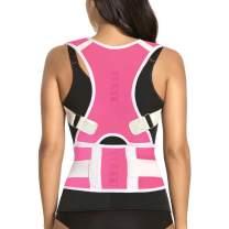 Thoracic Back Brace Posture Corrector - Magnetic Support for Neck Shoulder Upper and Lower Back Pain Relief - Perfect Posture Brace for Cervical Lumbar Spine - Fully Adjustable Belt (Pink, X-Large)