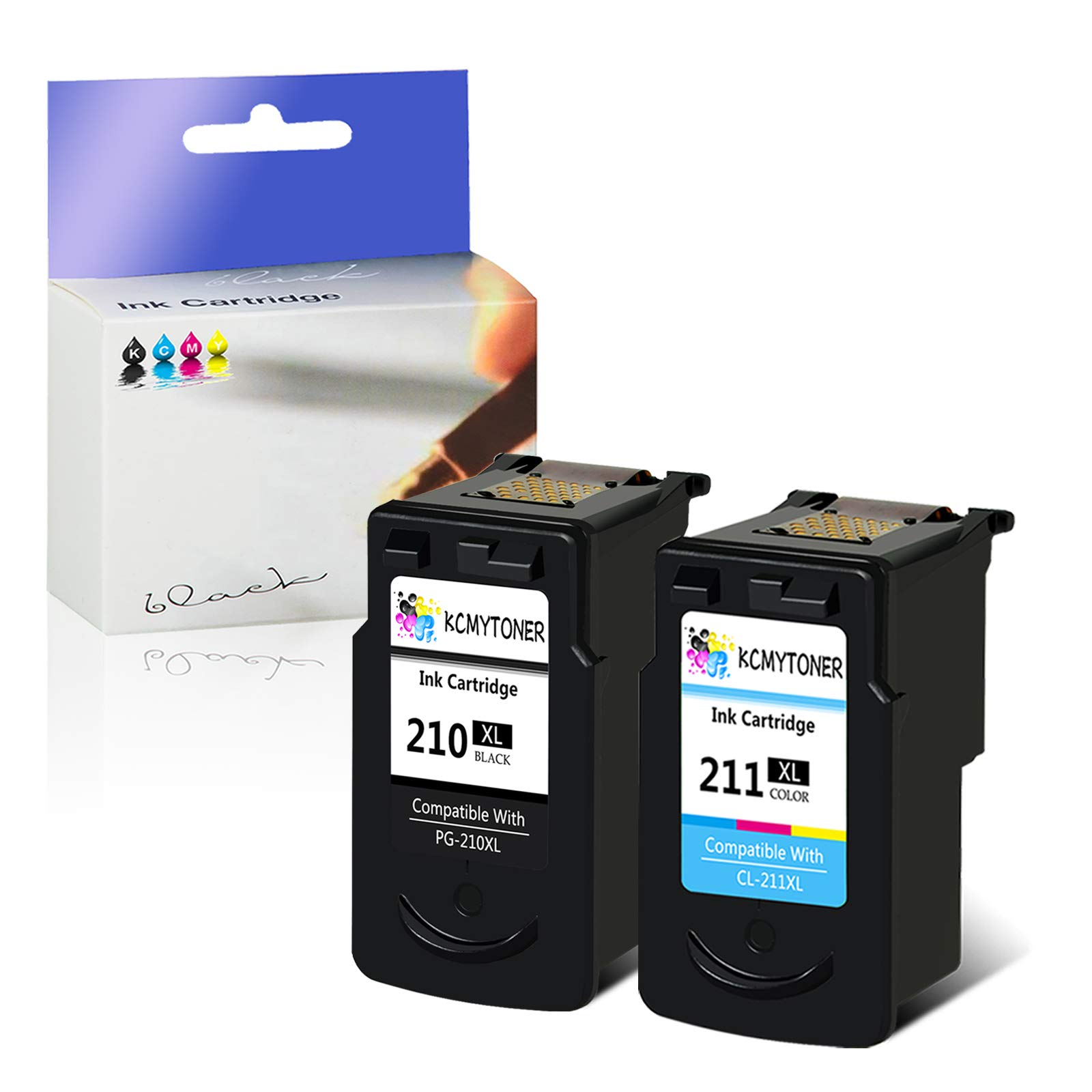 KCYMTONER Re-Manufactured Ink Cartridge Compatible for Canon PG-210XL 210 XL CL-211XL 211 XL IXMA IP2702 MP495 MP490 MP250 MP260 MP280 MP480 MX340 MX410 Printers (1 Black 1 Tri-Color,2 Pack)