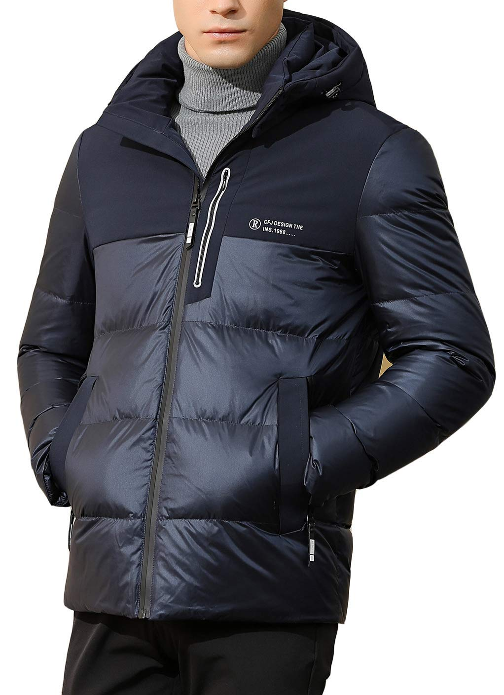 SUNNY SHOP Outdoor Lightweight Down Jacket Large Fashion Puffer Down Jackets Hooded Packable Down Coat Men Winter 9626