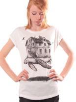 Women's Travelling Home T-Shirt - Graphic Turtle Top - Original Illustration