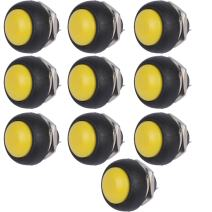 ESUPPORT 12mm Yellow Waterproof Momentary Round Toggle Switch ON Off Reset Push Button Pack of 10