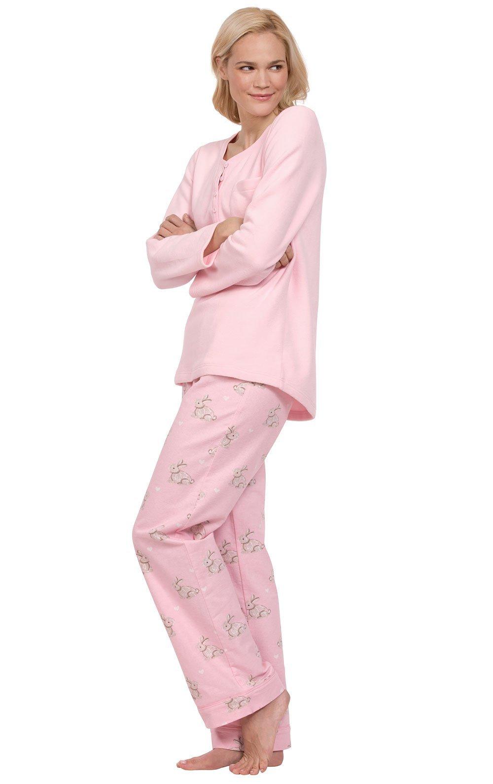 PajamaGram Soft Fleece Pajamas Women - Cozy Pajamas for Women, Pink