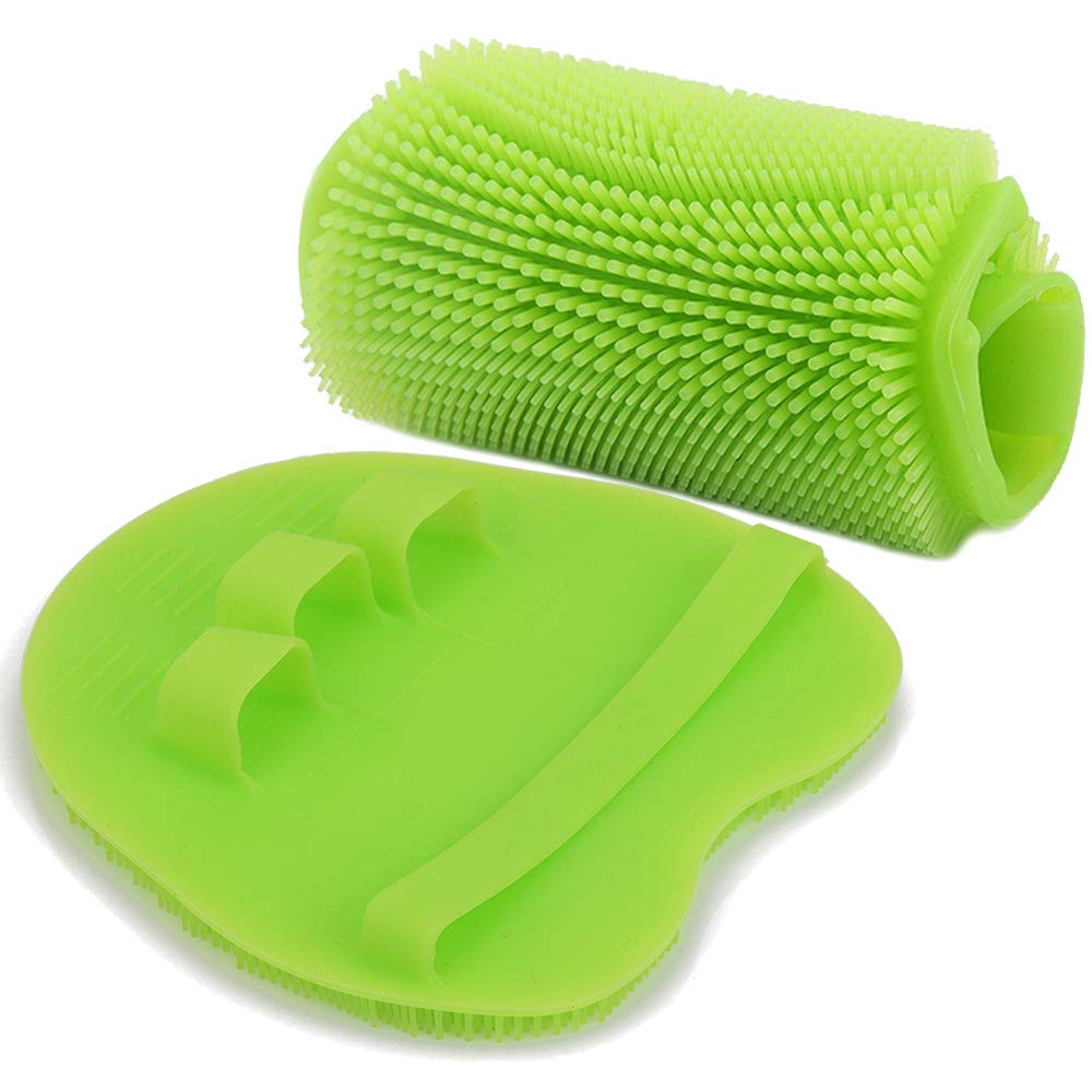 Soft Silicone Shower Brush, Body & Face & Short Hair Wash, Bath Exfoliating Skin Massage Scrubber, Dry Skin Brushing Glove Loofah, Fit for Sensitive and All Kinds of Skin (Green)