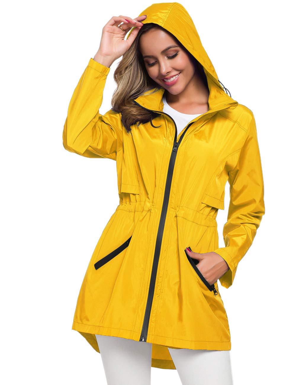 Avoogue Women's Long Raincoat with Hood Outdoor Lightweight Windbreaker Rain Jacket Waterproof